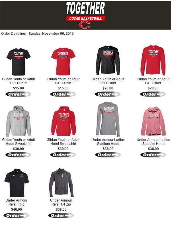 Cozad Boy's Basketball Apparel